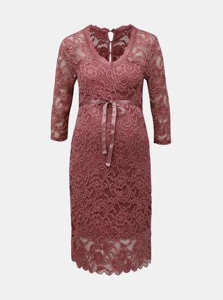 Růžové těhotenské krajkové šaty Mama.licious Mivada