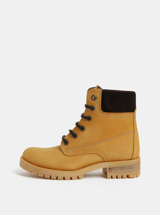 Svetlohnedé kožené členkové topánky so semišovými detailmi OJJU