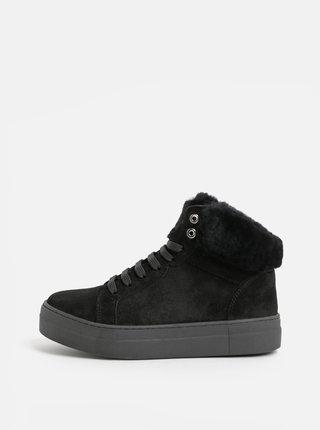Černé semišové kotníkové zimní boty s umělým kožíškem OJJU