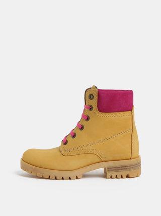 Ružovo–hnedé kožené členkové topánky so semišovými detailmi OJJU