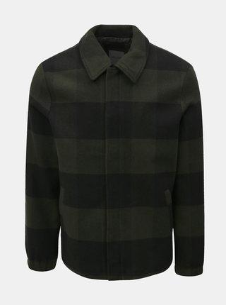 Čierno–zelená kockovaná tenká bunda s prímesou vlny ONLY & SONS Shawn