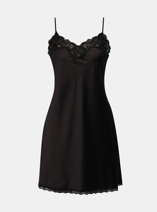 Černá saténová košilka s krajkovými detaily Lauren Ralph Lauren