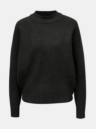 Tmavě šedý volný basic svetr s netopýřími rukávy Apricot