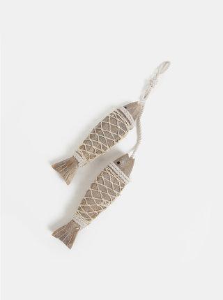 Decoratie din lemn in forma de pesti maro Kaemingk