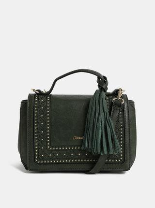 Tmavě zelená crossbody kabelka s ozdobným prošíváním Gionni