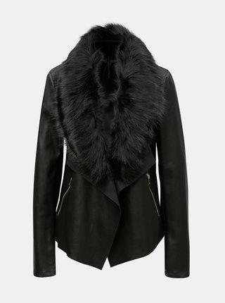 Jacheta neagra din piele sintetica cu blana artificiala Dorothy Perkins Tall