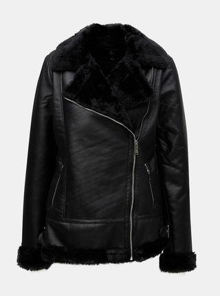 Čierna koženková bunda s umelou kožušinkou Dorothy Perkins