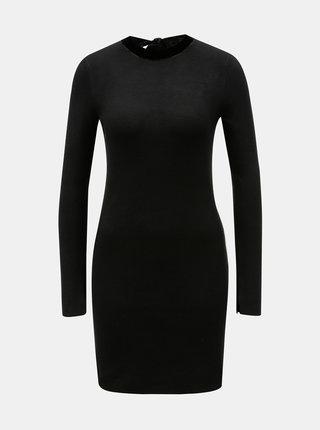 Čierne svetrové šaty s dlhým rukávom Dorothy Perkins