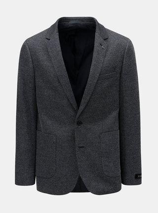 Tmavomodré pánske sako s drobným vzorom Burton Menswear London