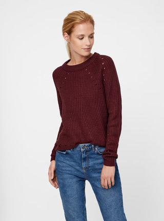 Vínový sveter s dierovanými detailmi VERO MODA Jay