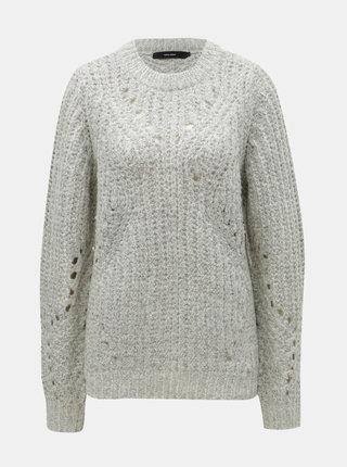 Svetlosivý melírovaný sveter so širokými okami VERO MODA Pica