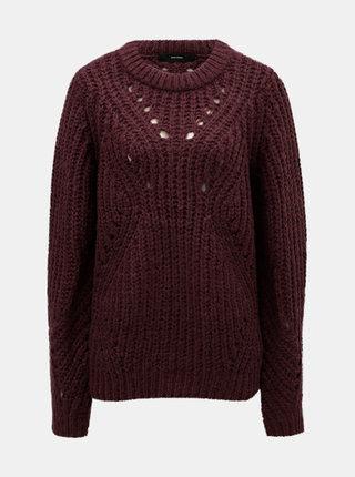 Vínový sveter so širokými okami VERO MODA Pica