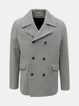 Sivý vlnený kabát Selected Homme