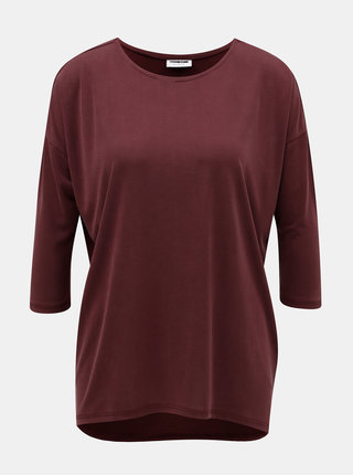 Vínové voľné basic tričko s predĺženou zadnou časťou Noisy May Allen