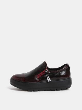 Pantofi slip on de dama bordo din piele cu platforma Geox Kaula