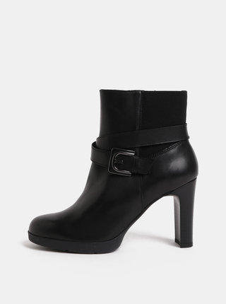 Černé dámské kožené kotníkové boty na podpatku Geox Annya