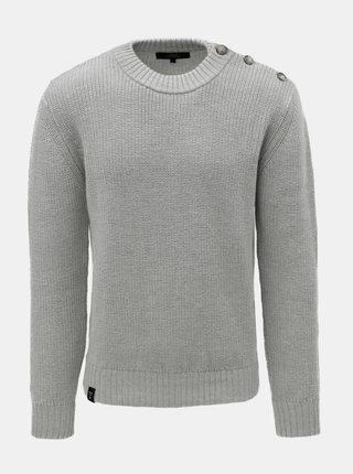 Svetlosivý pánsky sveter z merino vlny s gombíkmi na ramenách Makia Admiral