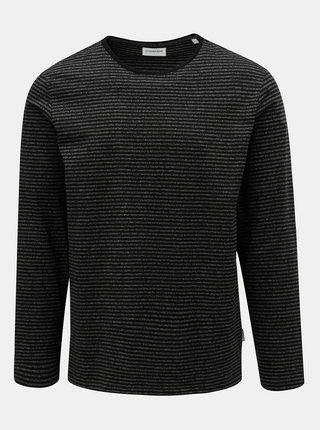 Sivo–čierne pruhované basic tričko Lindbergh
