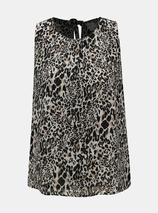Černo-béžová halenka s leopardím vzorem a průstřihy na zádech Jacqueline de Yong Abigail