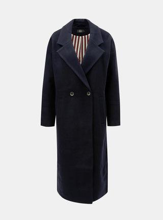 Tmavě modrý dlouhý kabát s příměsí vlny ONLY Lara