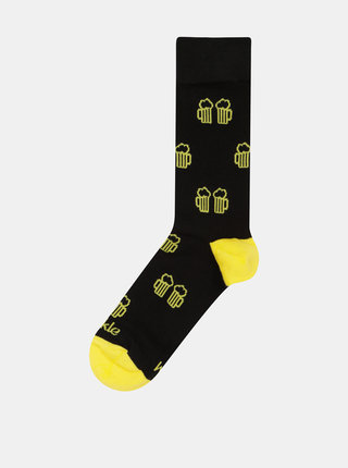 Žlto–čierne unisex ponožky Fusakle Na zdravi