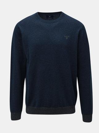 Modrý pánsky sveter s prímesou vlny GANT Elbow