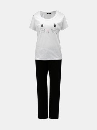 Čierno–biele dámske pyžamo s motívom mačky ZOOT