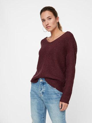 Vínový oversize sveter s čipkou na chrbte VERO MODA Buena
