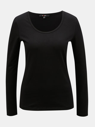 Tricou basic negru cu maneci lungi Yest