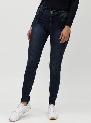 Tmavě modré slim džíny s vyšisovaným efektem Yest
