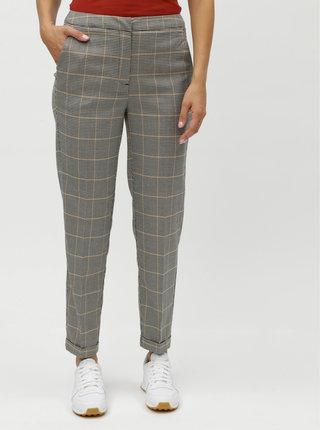 Sivé vzorované oblekové nohavice s vysokým pásom VERO MODA Laja