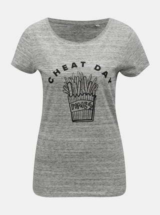 Tricou de dama gri melanj cu motiv cartofi prajiti ZOOT Original Cheat day