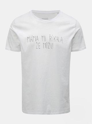 Biele pánske tričko s potlačou ZOOT Original Máma mi říkala