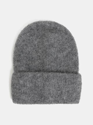 Sivá melírovaná vlnená čiapka Pieces Josefine
