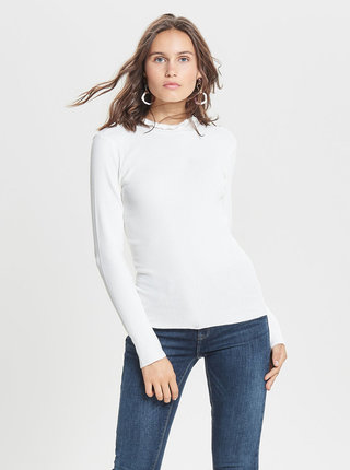 Krémový tenký rebrovaný sveter Jacqueline de Yong