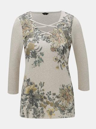 Béžové květované tričko s kamínky a 3/4 rukávem M&Co