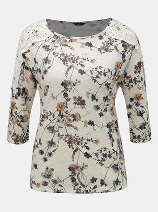 Krémové květované tričko s krajkovými detaily M&Co
