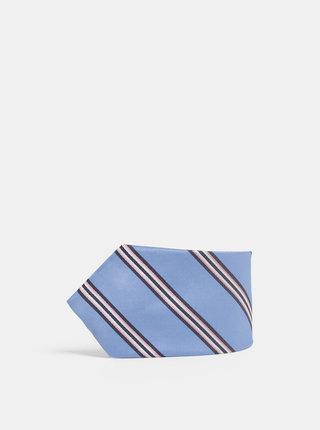 Růžovo-modrá vzorovaná hedvábná kravata Dice
