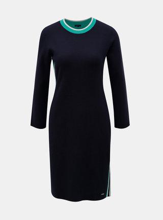 Tmavomodré svetrové šaty s pruhmi na bokoch Nautica