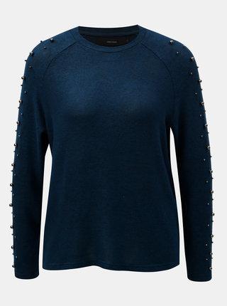 Tmavě modrý lehký svetr s korálky VERO MODA