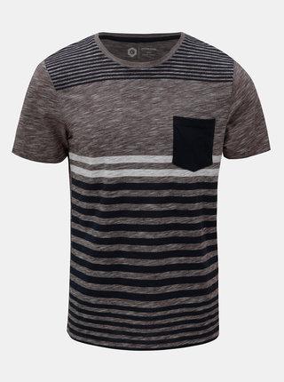 Modro–vínové pruhované slim fit tričko Jack & Jones True