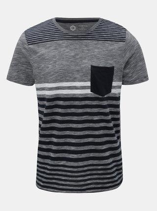 Modro–sivé pruhované slim fit tričko Jack & Jones True