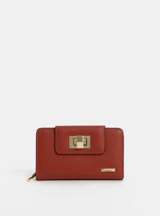 Tehlová veľká peňaženka s detailmi v zlatej farbe Gionni Cleo