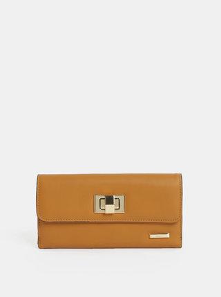 Horčicová veľká peňaženka s detailmi v zlatej farbe Gionni Cleo