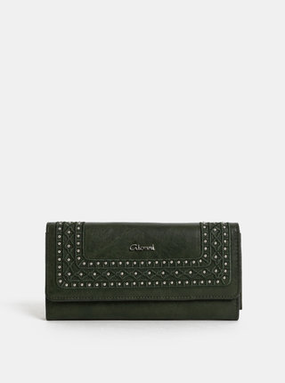 Tmavozelená veľká peňaženka s detailmi v striebornej farbe Gionni Clover