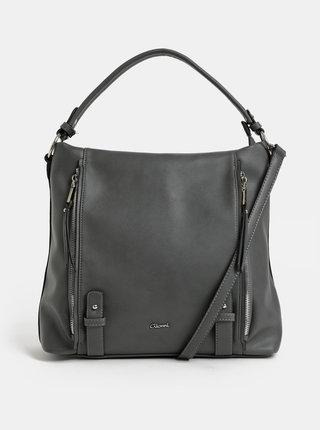 Tmavosivá kabelka cez rameno s detailmi v striebornej farbe Gionni Jasmine