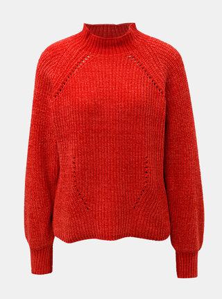 Červený sveter so stojačikom Jacqueline de Yong Chenilla