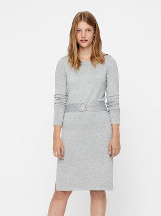 Sivé svetrové šaty s opaskom VERO MODA Sidse