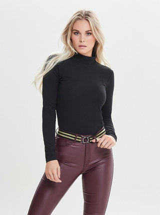 Tricou basic negru cu guler inalt Jacqueline de Yong Dyava