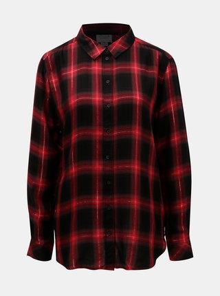 Černo-červená kostkovaná košile s metalickým vláknem Jacqueline de Yong Frans